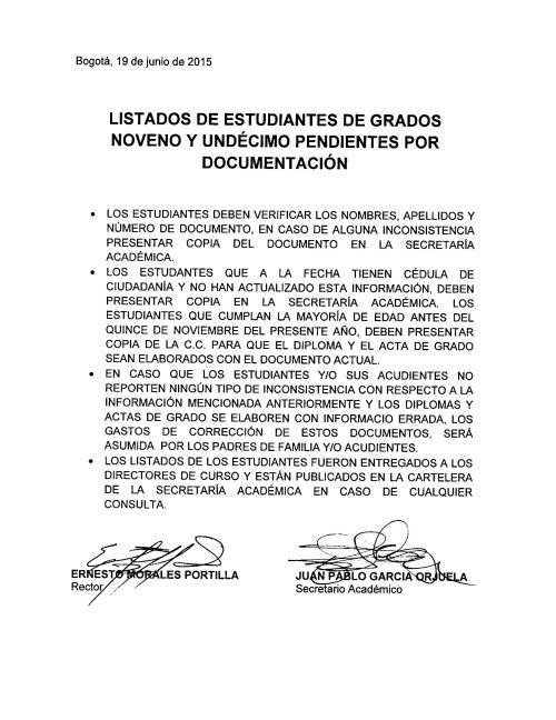 DOCUMENTOS GRADOS 2015